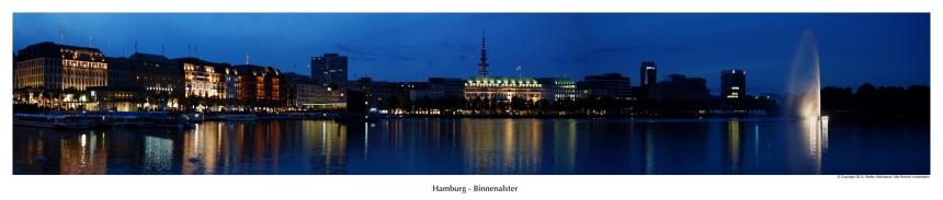 Hamburg Binnenalster at night
